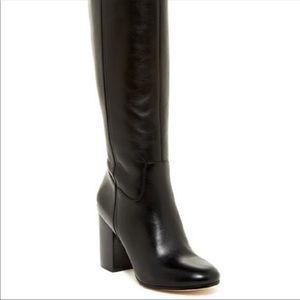 Via Spiga Beckett Black Leather Block Heel Boots